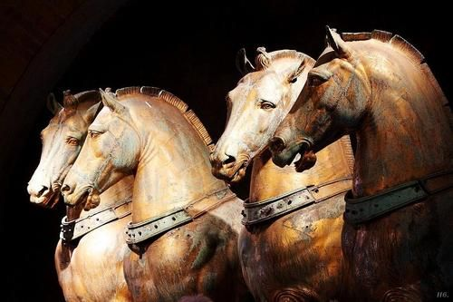 wasbella102: The Magnificent bronze Horses of St. Mark's Basilica. Venice. hadrian6: