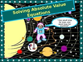 "I am so delighted to share this power-point over Absolute-Value Equations.  *     Students are introduced to a familiar concept (absolute value), but in the following lesson, it is  applied to solving algebraic equations. *       Students will solve basic absolute-value equations.*     They will progress to solve more difficult absolute-value equations.*      Ultimately, they will write their own absolute-equations, given two solutions. *     A short four-question ""follow-up assessment"" is…"
