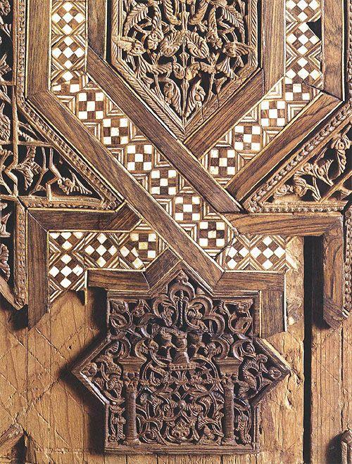 wood grain moraccan tile   mashrabiya screen overlaid with ring design
