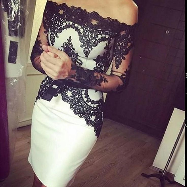 2016 Sexy White And Black Lace Cocktail Dresses Sheer Off Shouler Long Sleeve Knee Length Short Sheath Celebrity Prom Party Homecoming Gowns Online with $94.25/Piece on Haiyan4419's Store | DHgate.com