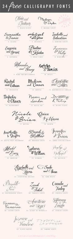 Tipos de letra grátis para convites de casamento                                                                                                                                                      Mais