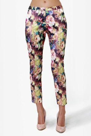 Cute Floral Print Pants - Cropped Pants - $42.00