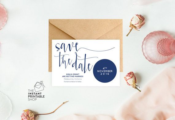 Rustic navy save the date. Download, add your wording % print!  The Instant Printable Shop https://www.etsy.com/au/listing/515810309/navy-save-the-date-cards-printable-save