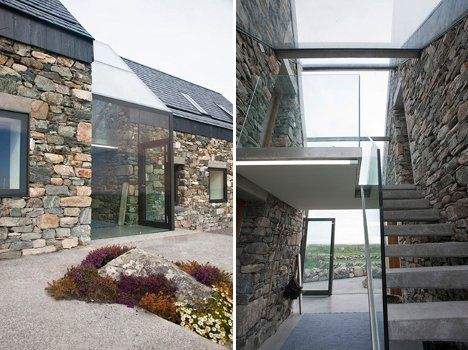 Glass-enclosed staircase -- as modern enclosure to join two old-world stone cottages (by Peter Legge Associates). #Interior