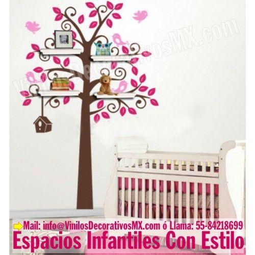Vinil De Arbol Infantil Para Repisas Con Pajaritos Www - Decoracion-de-habitaciones-infantiles-de-nia