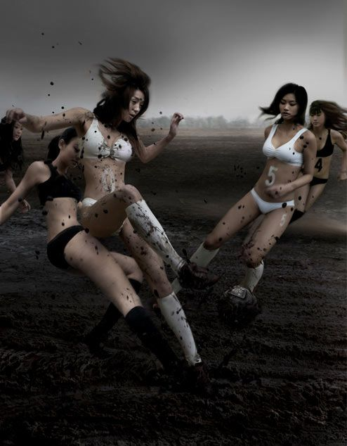 Sexy asian girls playing football in mud. The asian girls are in swim suits  and the pictures are fantastic.I think they are top models.