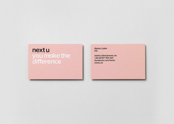 Business cards and visual identity for Next u by The Studio.
