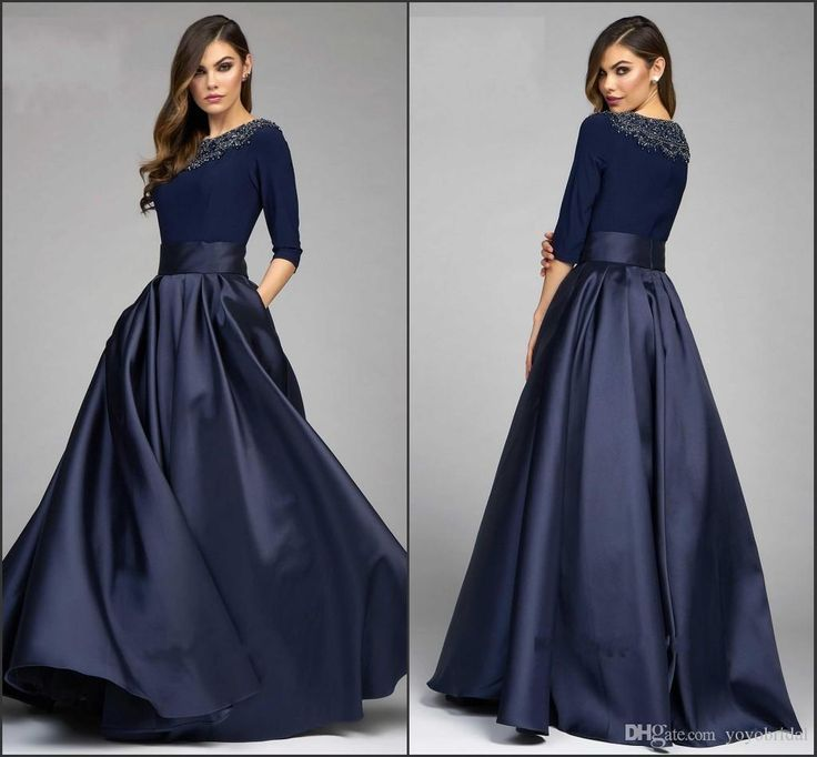 Cool Evening Dresses plus size Vintage Navy Designer Mother Of The Bride Groom Dresses 2016 A Line Half Sleeves...