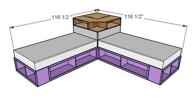 I want to make this!  DIY Furniture Plan from Ana-White.com  A corner base unit to take advantage of tons of space between two twin beds! Place a tv on top or just use for books ans storage. Featuring a face suitable for a cork board or chalkboard.