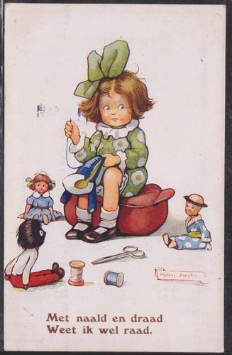 Early 1932 Postcard of the Golly and a Girl Sewing the Golly's Coat, by Helen Jacobs.
