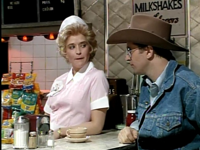 "One of the best skits never to make it live on SNL. VIDEO - CLICK IMAGE TO VIEW ""Don't Give Away Your Pie For Free, It Makes You Look Cheap"".  Brenda the Waitress skit on SNL: Alec Baldwin and Jan Hooks with Kevin Nealon and Phil Hartman and Nora Dunn.Alec Baldwin, Phil Hartman, Night Living, Nora Dunn, Skits, Snl Jan Hooks, Kevin Nealon, Click Image, Saturday Night"