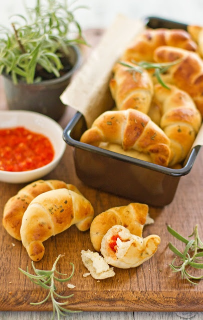 Rosemary Bread Rolls Stuffed with Cheese and Chili Paste