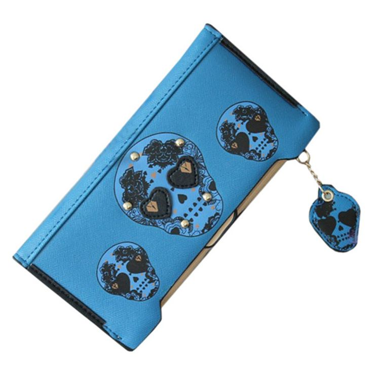 Women's Purse Women's Wristlet Softy Leather Rivets Of Metal SKULL PRINT Wallet , https://myalphastore.com/products/womens-purse-womens-wristlet-softy-leather-rivets-of-metal-skull-print-wallet/,