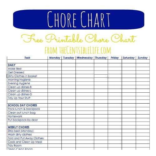 teenage chore chart