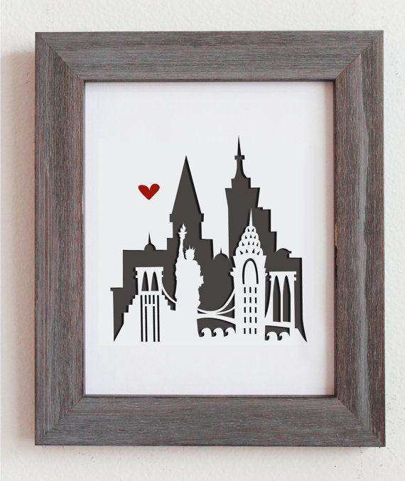 New York New York.  Personalized Gift or Wedding by Cropacature, $27.00