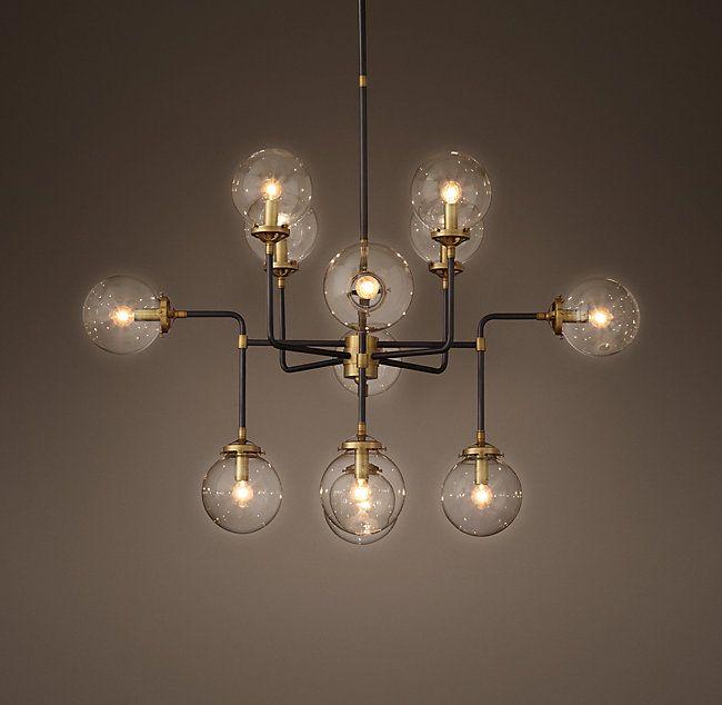 RH's Bistro Globe Clear Glass 12-Light Chandelier:Inspired by 1940s industrialism, our globe chandelier