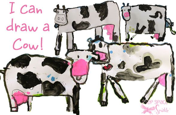 I Can Draw a Cow! Having taught in rural communities, I love the reference to cows!  Excellent for use with primary students just learning to mix tints. The color palette is limited to black, white, and a touch of red to make pink. Let the paint dry before finishing with blue & yellow (mix green) for the background. Delightful results. From the Deep Sparkle website.