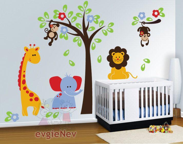 THE ORIGINAL Children Wall Decal Wall Sticker Kids Decal  - Safari Playland Set with Lion, Monkeys, Giraffe and Elephant - PLSF010R. $159.00, via Etsy.