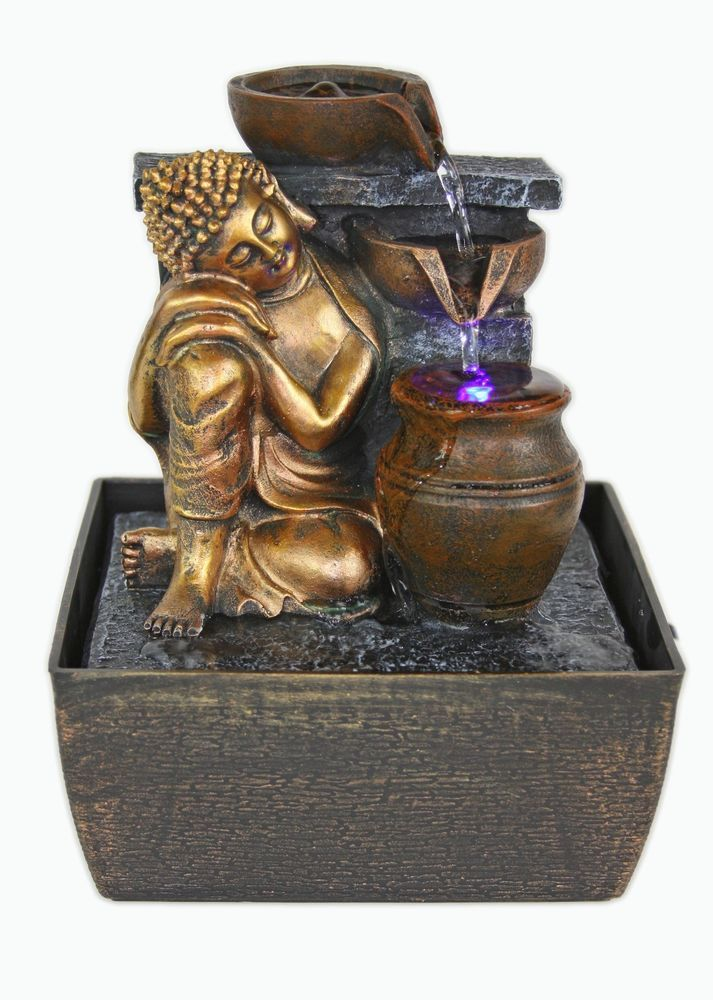 Marvelous Buddha Indoor Tabletop Water Fountain With LED Light Feng Shui