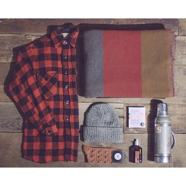 #vintage wool flannel, #USA made marl lumberjack beanie, @Richer Poorer socks, vintage camp blanket, @Juniper Ridge | mountains in a bottle cabin spray, vintage #Stanley thermos & @impossibleproject #polaroid film