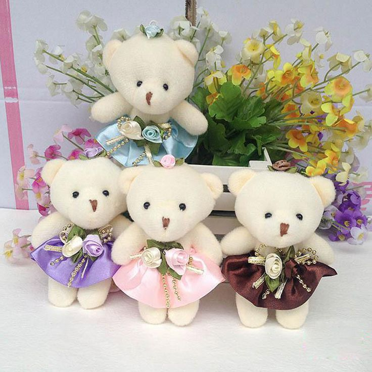 10pcs/lot Kawaii Small Joint Teddy Bears Stuffed Plush 12CM Toy Teddy-Bear Mini Bear Ted Bears Plush Toys On Dress Gifts 120 #Affiliate