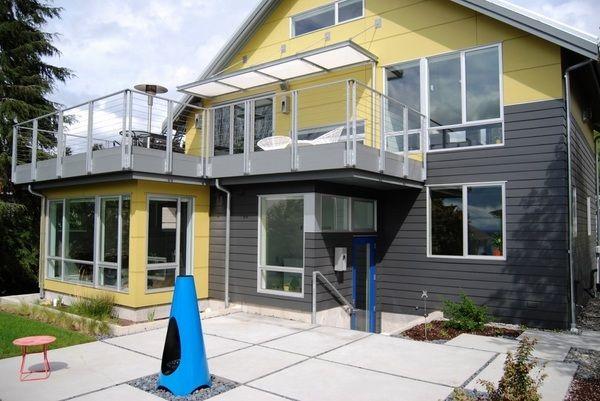 Contemporary patio fireplace blue chiminea modern design patio decorating ideas