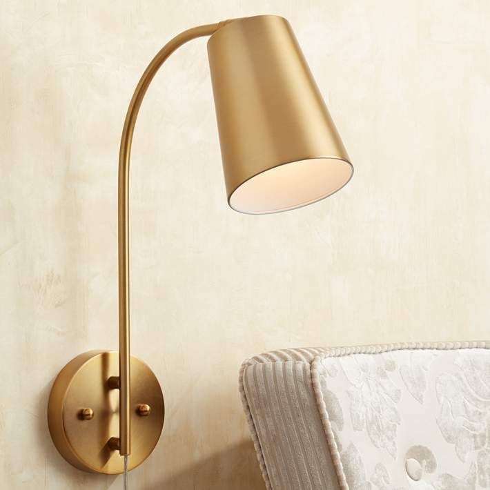 sully warm brass plugin wall lamp style 9p579