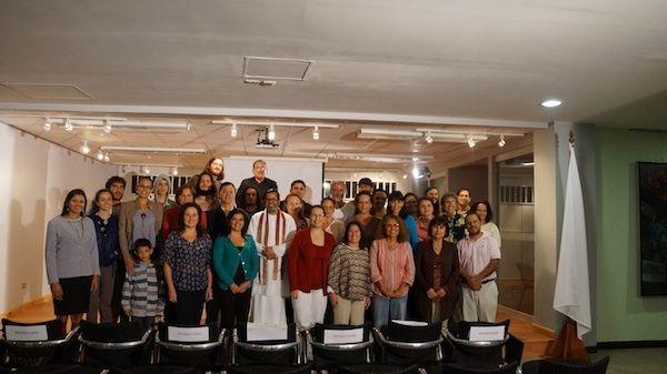 Shuddhaanandaa and students after presentation at National University Costa Rica 2014