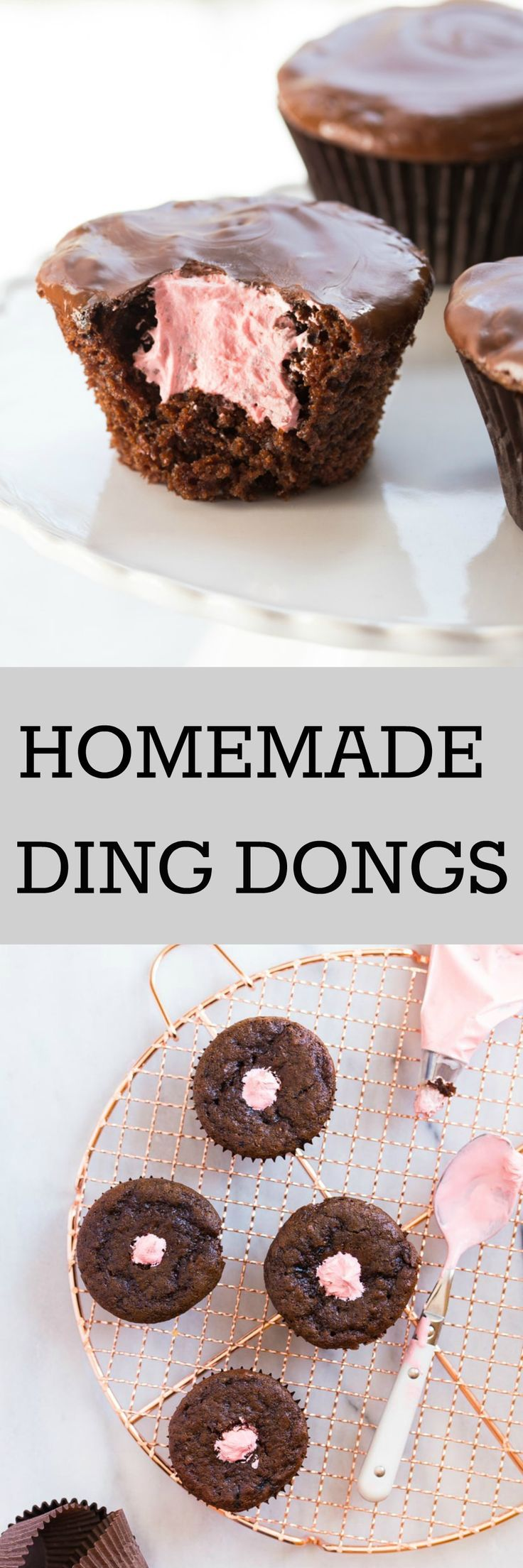 A small batch of chocolate cupcakes becomes homemade ding dongs with a bit of marshmallow fluff (any flavor!) and easy melted chocolate frosting @DessertForTwo