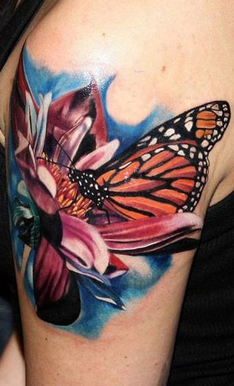 Realistic Flower Tattoos On The Right Forearm Tattoo: 26 Best Realistic Butterfly And Flower Tattoos Images On