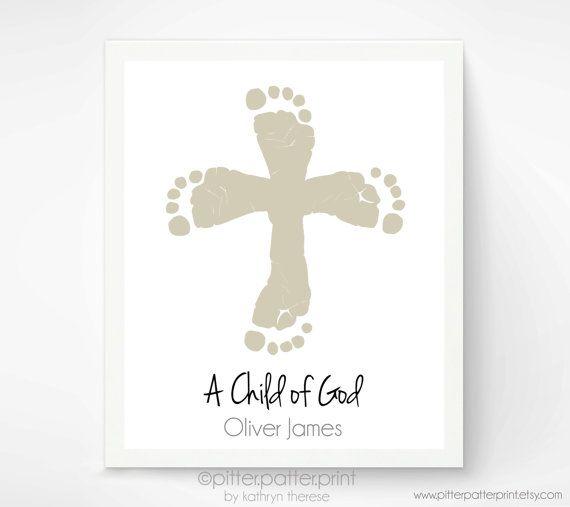 Baptism Gift - Christian Nursery Art Print - Cross Baby Footprint Art - Personalized Christening Gift - Gift for Godmother