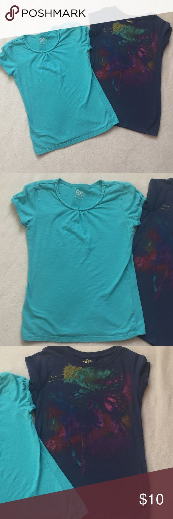 Bundle of 2 girls T-shirts ❤️️ Brand:  Turquoise shirt is SO by Kohl's, butterfly shirt is Mudd ❤️️Size: 10-12 ❤️️Color: turquoise and blue/multi colored ❤️️ Condition: used ❤️️Materials: 100% cotton ❤️️Notes: 💕Make an offer!💕 💕 Bundle 2+ items and save 30%!💕 Mudd Shirts & Tops Tees - Short Sleeve