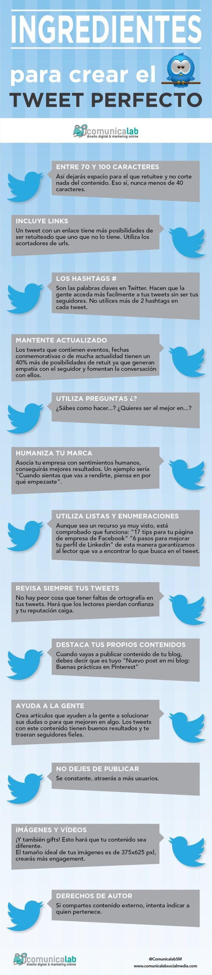 Una infografía en español con varios consejos para publicar un tweet perfecto, ese de más calidad que logra una mayor interacción entre nuestros seguidores.