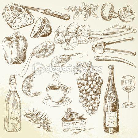 Élelmiszer-gyűjtemény - rajz — Stock Illusztráció #27016717