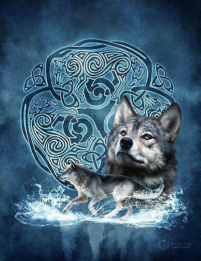 Celtic Knotwork Wolf Triskele - Brigid Ashwood. $15.00, via Etsy.