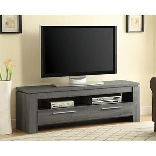 Coaster Weathered grey finish wood contemporary style TV stand with open shelves and 2 drawers