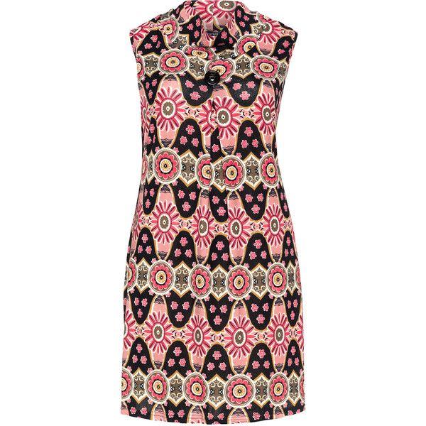 Samya Pink / Black Plus Size Printed collar dress ($39) ❤ liked on Polyvore featuring dresses, pink, plus size, womens plus dresses, stretch dress, pattern dress, pink sleeveless dress and pleated dress
