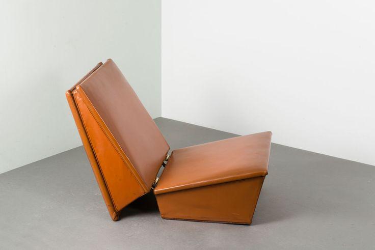 :: Hans Olsen; Wood, Leather and Brass Folding Chair for Sörensen, 1960. ::
