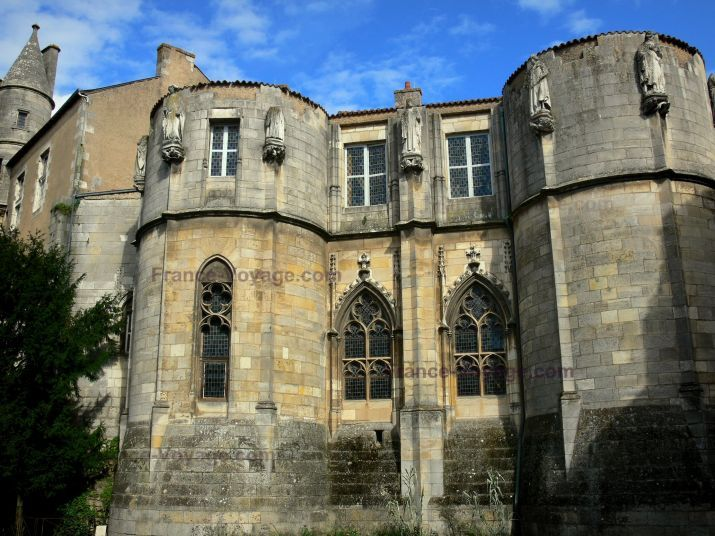 La Tour Maubergeon, Palais de Justice de Poitiers France. In 1104, Count William IX added this rectangular keep with a polygonal tower at each corner to house his mistress Amauberge, called La Dangereuse, whom he abducted (apparently quite willingly) from her husband.  William's namesake and heir was wed to Amauberge's daughter and their children are known to us as Eleanor, Petronilla, and William Aigret (who died in childhood, thus leaving Eleanor as heiress of the duchy of Aquitaine).