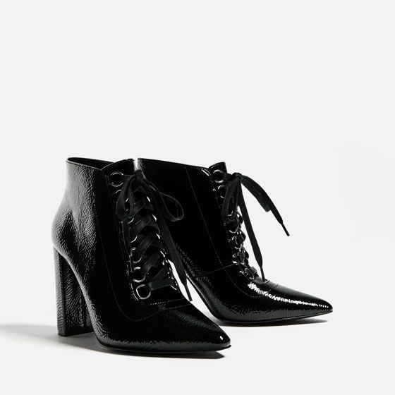 Image 3 of LACE-UP HIGH HEEL ANKLE BOOTS from Zara