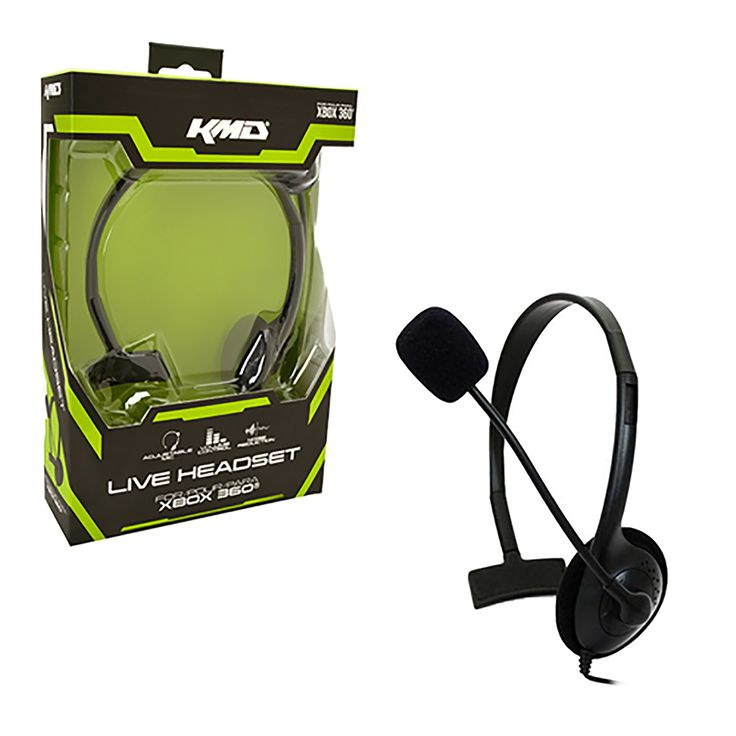 Black Live Chat Headset w/ Mic for Xbox 360 XBOX   https://www.retrogamingstores.com/gaming-accessories/xbox-360-headset-live-gaming-headset-with-mic-small-black-kmd-komodo  Get the gear, and give a voice to you games!