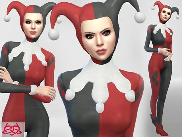Sims 4 CC's - The Best: Set Hat/Outfit/Shoes Harley Quinn by Colores Urban...
