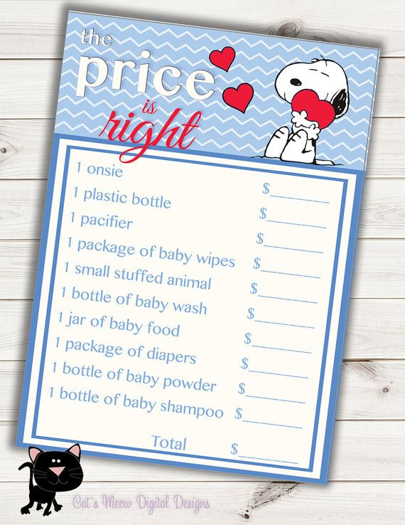 Snoopy Baby Shower Game Price is Right~Printable~INSTANT DOWNLOAD