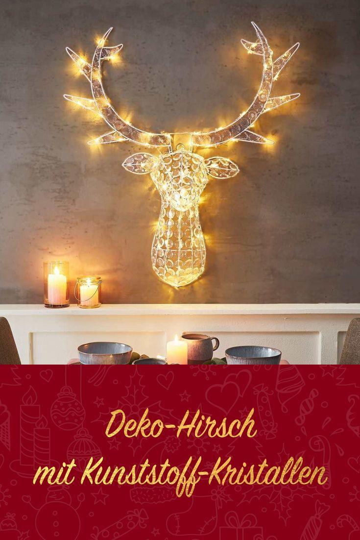 Deko Hirsch Mit Kunststoff Kristallen Weihnachtlich Wandgestaltung Deko Weihnachtsdeko Xmas Adventszeit Lichterkette Lampe Hirsch Deko Deko Hirschkopf
