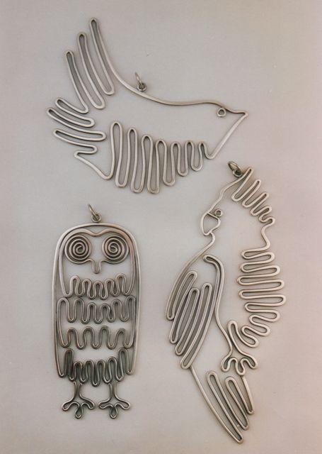 """Pendants   Ahlene Welsh.  """"Wire birds"""".   Sterling silver."""