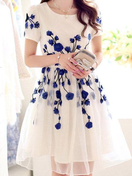 Elegant Round Neck Blended Casual-dress   fashionmia.com