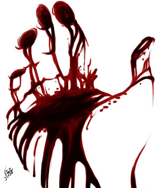 The bloody hands of Macbeth after killing the king - representing some kind of overwhelming feeling from Macbeth because of the action of the hand: open to the palm, and spread wide