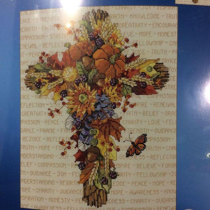 Cross Stitch Kit Janlynn Religious Fall Floral Cross Nancy