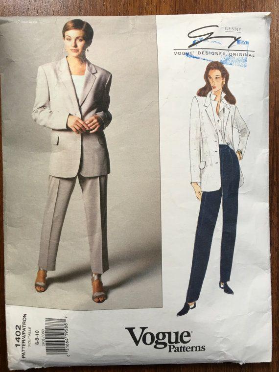 Vogue  1402  1994 Genny Vogue Designer Original Sewing Pattern Womens Jacket & Pants Size 6 8 10 Bust 30 1/2 to 32 1/2 UnCut FF ph onlyVintage Vogue Basic Design Vogue 1193..Size 12..Ladies Jacket..5 Styles...VINTAGE, UNCUT