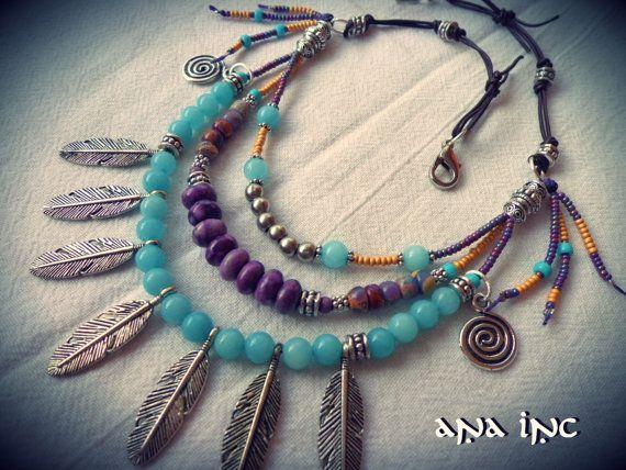 collar tribal africana hippie bohemio collar multi strand capas collar boho collar africano granos de plata encanto collar cuero ze